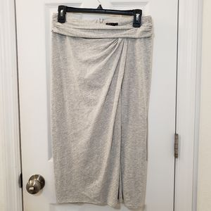 Theory Gray Rouched Skirt Pima Cotton Wrap